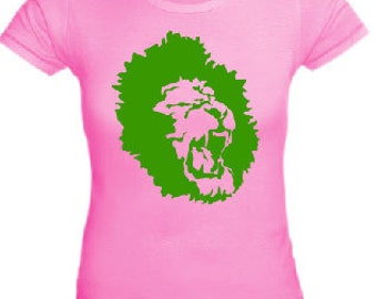 Distributed Lion Logo shirt for women, Pink T-shirt, Logo shirt, Round neck, Short sleeves, Cotton shirt, Womenz shirt