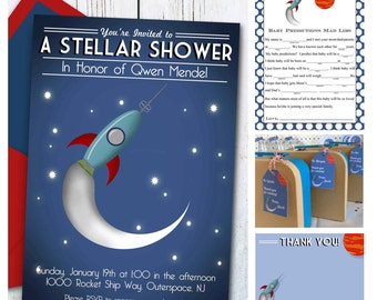 Outer Space Baby Shower Set, Space Baby Shower Invitation, INSTANT  DOWNLOAD, Retro Rocket