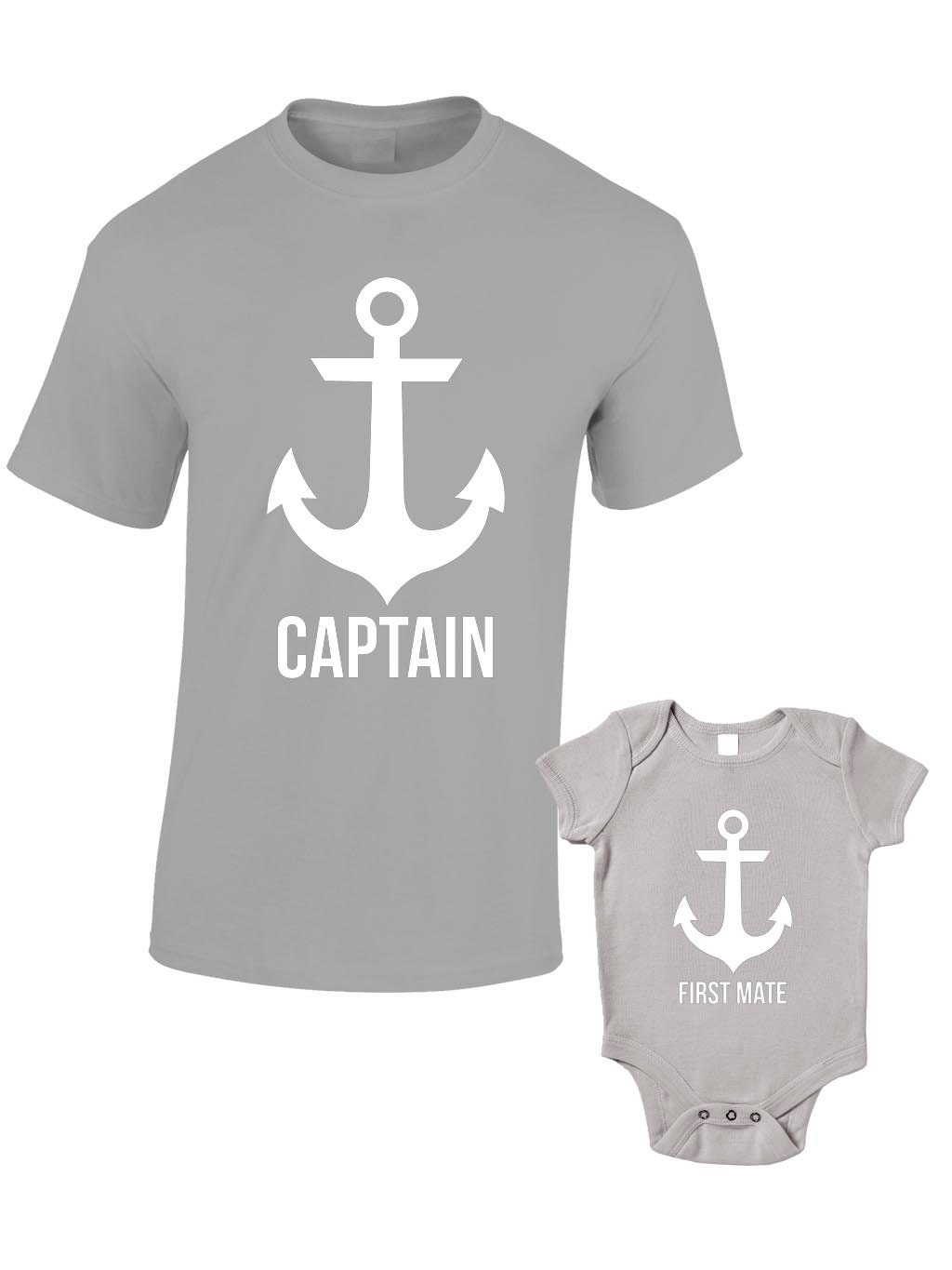 captain and first mate t shirts or baby grow matching father. Black Bedroom Furniture Sets. Home Design Ideas
