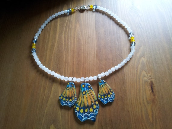 RESERVED - Butterflies In The Morning Mist - 20 inch Necklace - Natural Stones - Feel serene and grounded when wearing this