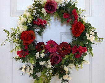 Floral Wreath, Designer Wreath, Garden Wreath, Summer Wreath, Victorian Wreath, Red Roses Wreath, Romantic Wedding