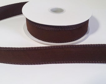 "7/8"" Brown Velvet Ribbon - 10 Yards"