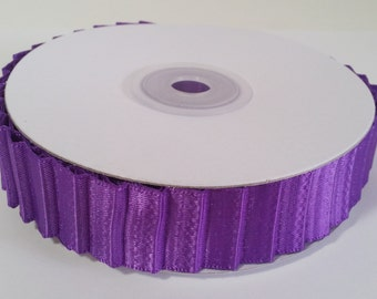 "7/8"" Double Face Satin Pleated Ribbon - Purple - 10 Yards"
