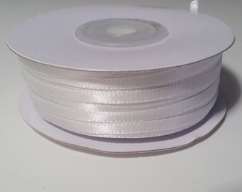 "1/8"" White Double Face Satin Ribbon - 100 Yards"