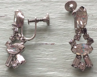 Vintage Rhinestone Earrings, Screw back Earrings, Rhinestone Screw backs