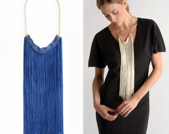 Blue Statement Necklace, Blue Statement, Statement Necklace, Long Fringe Necklace, Long Necklace, Fringe Necklace, Color Block jewelry