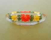 Very Pretty Vintage 1960's Hippie BoHo Orange And Yellow Roses, Flowers in Celluloid Plastic Barrette, Hair Jewelry,