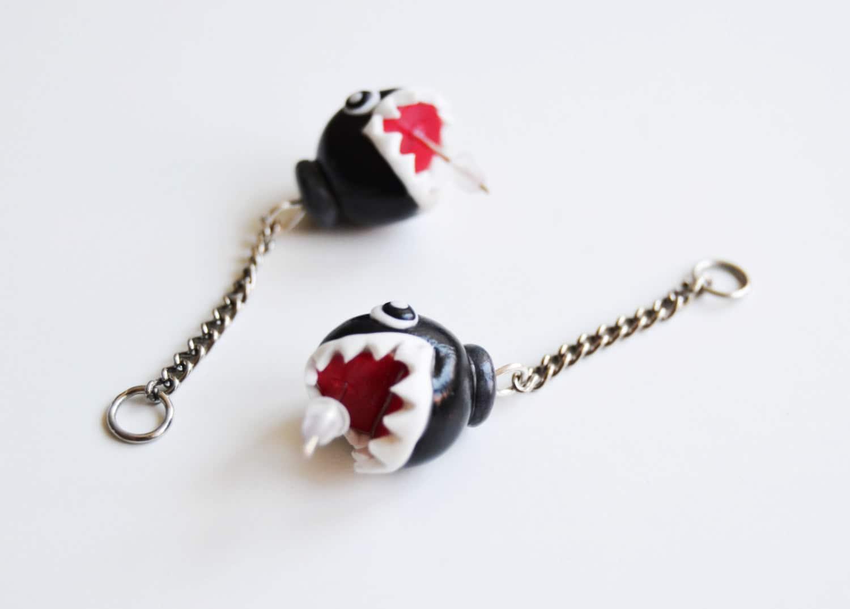 chain chomp earrings mario nintendo earrings mario