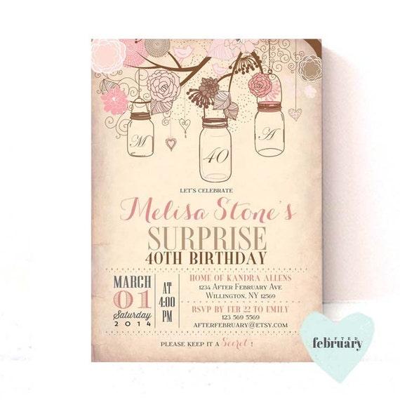 Surprise Adult Birthday Invitation Vintage Peach Background