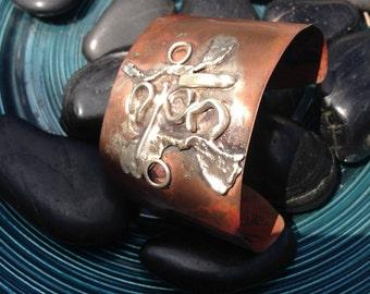 sterling and copper cuff