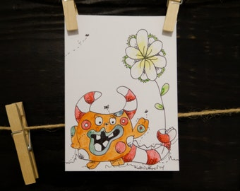 Monster Thank You Card-Bugs-Flower-Handmade-FREE Shipping Anywhere in the US!