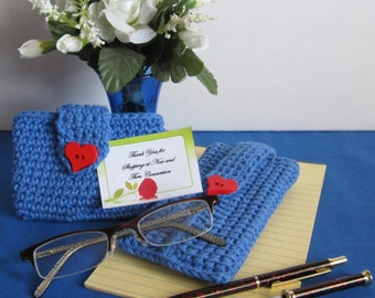 Business Card Case-handmade in a crochet stitch and royal blue cotton yarn. embellished with a red heart-shaped button.  Makes a great gift.