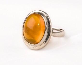 Vintage Silver Ring with  fine Amber Gem .    Unique design.