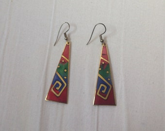 Vintage 1980's geometric drop earrings