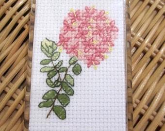 Hand cross stitched Australian flora magnet - Pink Rice Flower.