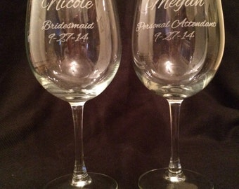 SET OF FOUR 20 oz Personalized Wine Glasses