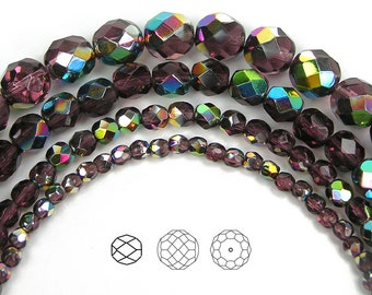 6mm (68pcs) Amethyst Vitrail coated, Czech Fire Polished Round Faceted Glass Beads, 16 inch strand