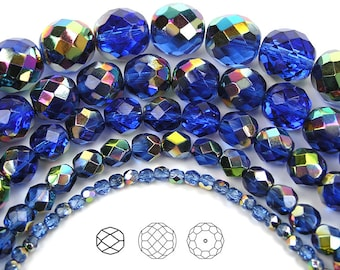 3mm (135pcs) Sapphire Vitrail coated, Czech Fire Polished Round Faceted Glass Beads, 16 inch strand