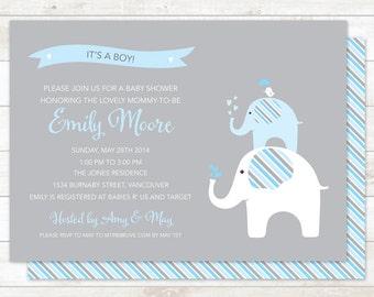 elephant baby boy shower invitation printable digital elephant stripes invite blue grey shower invite customizable personalized