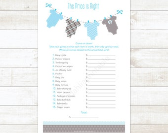 baby shower price is right game baby boy shower game baby blue baby clothes hanger baby the price is right - INSTANT DOWNLOAD