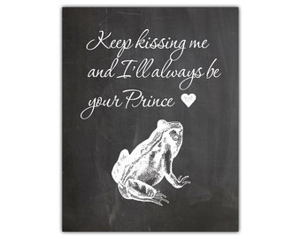 Fairy tale art - marriage quote - newlywed gift - wedding gift for couple - anniversary gift for wife - kiss me frog print fairy tale print