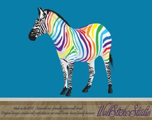 ZEBRA Wall Decal. REUSABLE FABRIC Wall Decals, Rainbow Zebra Decal, Peel and Stick Wall Decals, Eco-friendly