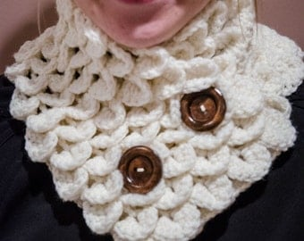 Ivory Petal Cowl with wooden buttons