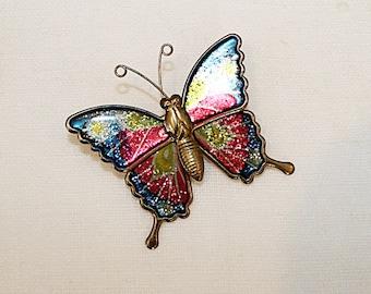 Butterfly Pin, Enamel under resin, JW108