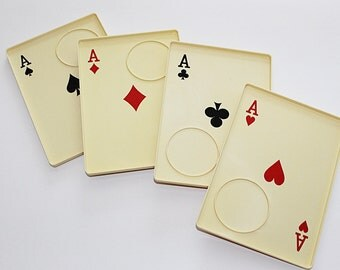 SALE Vintage Playing Card Tray Set from the 70s for Bridge or 4 Person Card Game