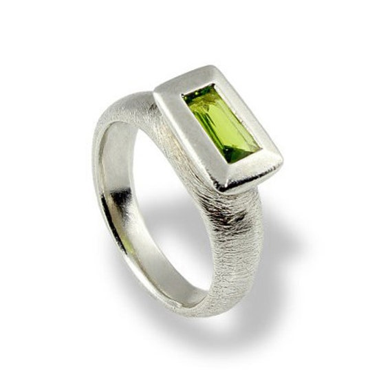 peridot ring gemstone engagement ring green by