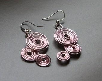 Spiral Wire Earrings in Rose