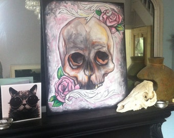Large skull painting, acrylic on canvas, ON SALE