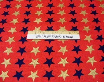 American Valor fabric by Windham Fabrics~ by the 1/2 yard~Quilts of Valor~stars on red~patriotic