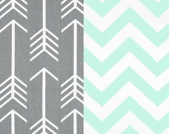 Grey, Mint and White Duvet Cover with Matching Shams - Toddler, Dorm Twin, Twin, Full/Queen and King - Many Sizes and Colors Available