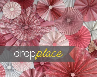 3x4 / 5x6 / 6x8 Durable Matte Vinyl Backdrop / Pinwheel / Rosettes / Pink and Red Palette / Valentine's Day Drops