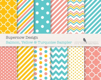 FREE COMMERICAL use 40% Off Coral Pink / Salmon, Turquoise & Yellow Digital Papers. Scrapbooking. Chevrons, Stripes, Dots, Quatrefoil.