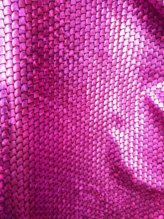 Spandex mini fish scale fuchsia 58 inches wide fabric by the for Fish scale fabric