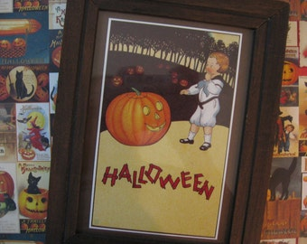 Framed Reproduction Halloween Postcard James E Pitts Vintage Wooden Brown Frame