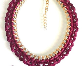 Statement Necklace. Woven Chain Necklace 100% Handmade!