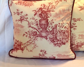 Burgundy and Creme Toile Pillow Cover