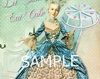 Marie Antoinette * Let them eat cake*  Fabric Block 14-0176- FREE SHIPPING