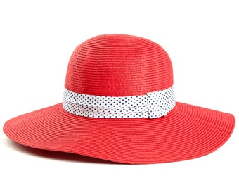 Red wide brim hat , Sun hat for women , decorated with a stunning ribbon.