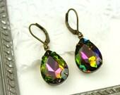 Multi Colored  Mermaid Glass Pear Shaped Vintage Drop Earrings   { M1 }
