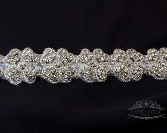 Bridal Sash Diamante Applique - Martini
