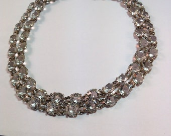 Vintage Rock Crystal Glass Double Strand Necklace with Sterling Clasp