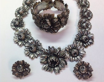 Sale Vintage Silver Plate Chrysanthamum Necklace, Bracelet and Earrings Set Hand Made