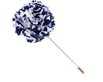 Oversized Navy Blue and White Houndstooth Lapel Flower Pin