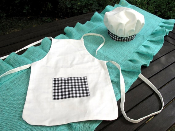 child chef apron hat set black and white check apron white. Black Bedroom Furniture Sets. Home Design Ideas