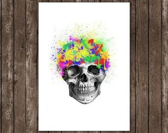 skull print, paint splatter art - skull art, colorful human skull art print