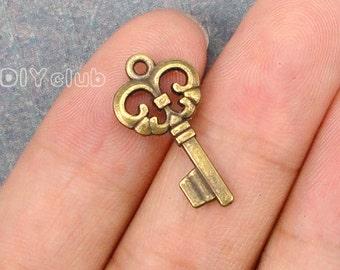 35pcs of Antique bronze tone key charms pendants  23x12mm